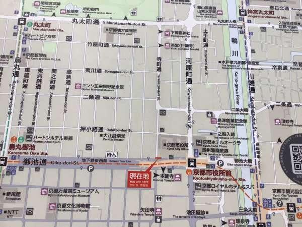 京都の寺町通りの地図
