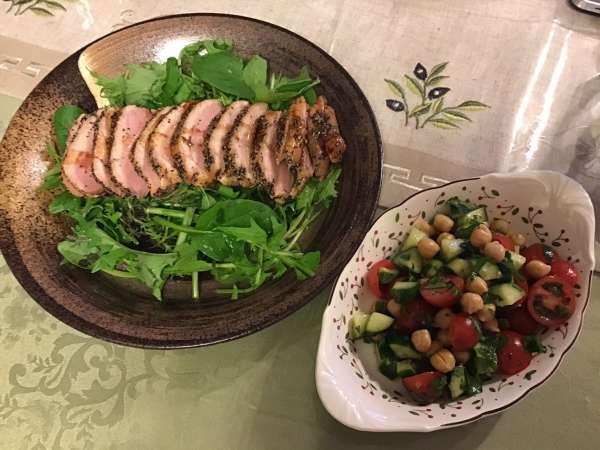 合鴨スモークの料理