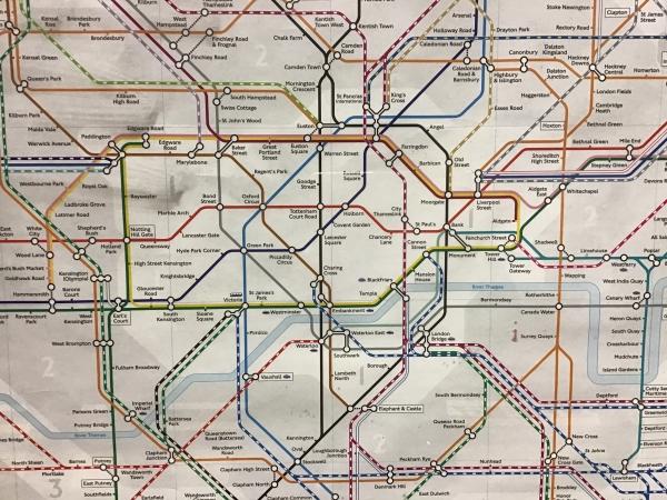 ロンドンの地下鉄路線図