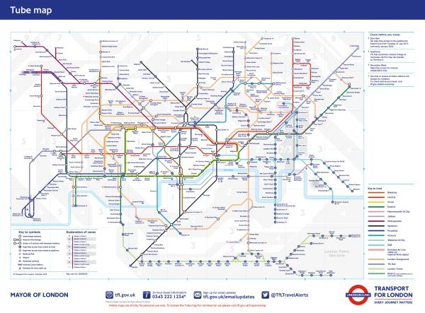 ロンドンの地下鉄のマップ