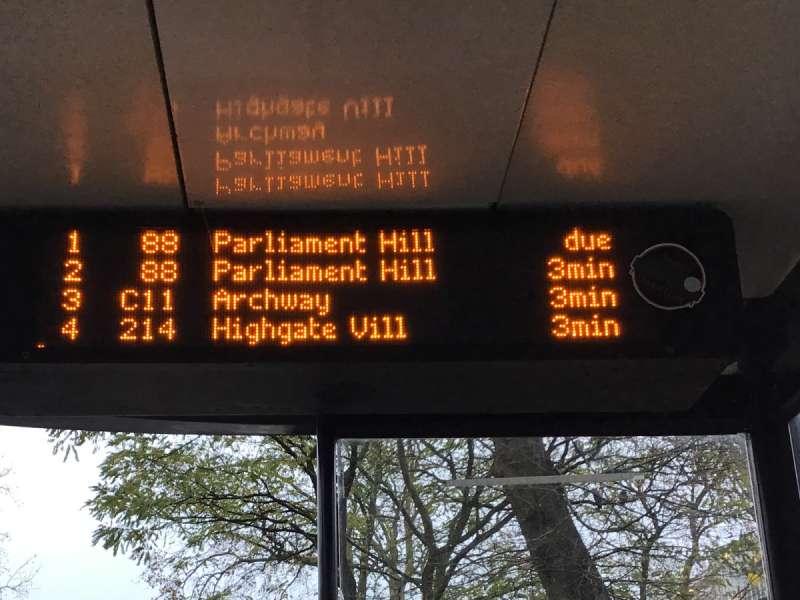バス停の電光掲示板
