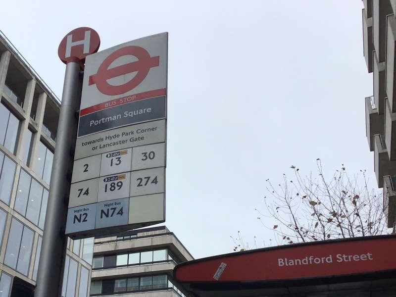 ロンドンのバス停